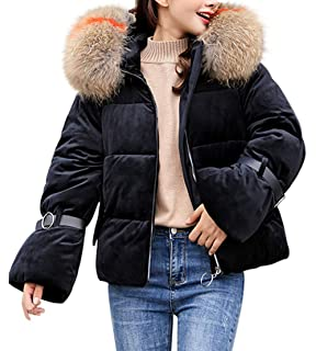 e196185c208 Lazzboy Womens Down Jacket Coat Winter Belted Sleeve Faux Fur Hooded Puffer  Parka Ladies Outerwear