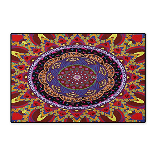 Mandala,Door Mats for Inside,Vintage Style Wedding Invitation Card with Mandala Motif Flower Illustration,3D Digital Printing Mat,Maroon and Red,Size,20