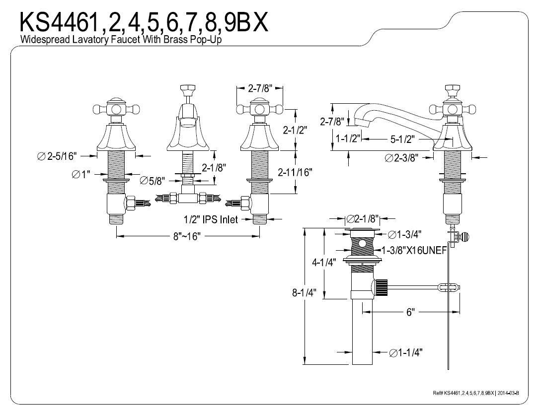 Kingston Brass KS4468BX Metropolitan Widespread Lavatory Faucet with Metal Cross Handle, Satin Nickel