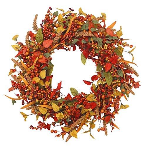 VGIA 22 inch Artificial Berry Fall Wreath Door Wreath Autumn Decoration