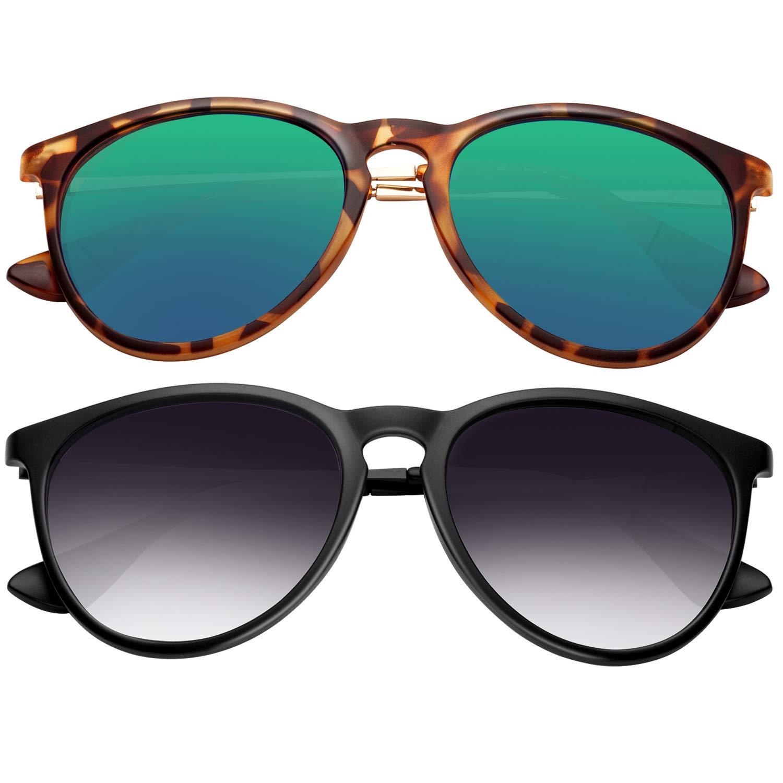 polarized sunglasses for women men - FEIDU retro womens sunglasses oversized style aviator sunglasses 4171 (2pack(green+black), 14.5) by FEIDU