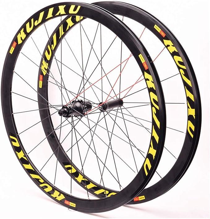 MZPWJD Juego Ruedas Bicicleta Carretera 700C 23-42C Llantas Doble Pared 38mm V- Freno Rodamiento Sellado Cassette Hub QR para 8-11 Velocidad CX Rueda Bicicleta (Color : White): Amazon.es: Deportes y aire libre