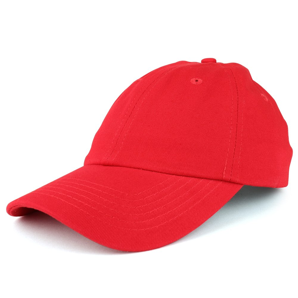 Trendy Apparel Shop Youth Small Fit Bio Washed Unstructured Cotton Baseball Cap - RED by Trendy Apparel Shop