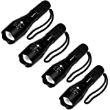 4Pcs Tactical flashlight Brightest Military Grade Flashlight - As Seen On Tv Tac Light - Zoomable, 5 Modes, Water Resistant, Handheld LED Flashlight - Best Camping, Hiking, Emergency,Flashlights