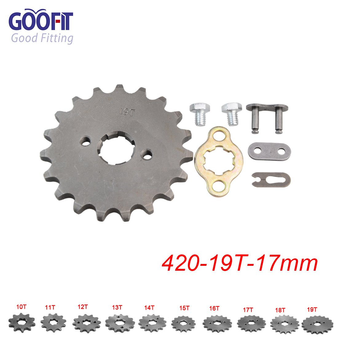 GOOFIT 17mm Sprocket Front for Motorcycle ATV Dirt Bike 420-19T