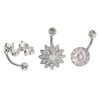 Buy MagiDeal 3pcs 14 Gauge Rhinestone Crystal Flower Belly Bar Button Ring  Piercing Jewellery Online at Low Prices in India  40f47bfb86ed