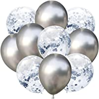 Docooler 10pcs/Set Confetti Balloon and Metallic Balloons Mixed Amazing Shinning Sight for Your Party Wedding Bedroom Decoration