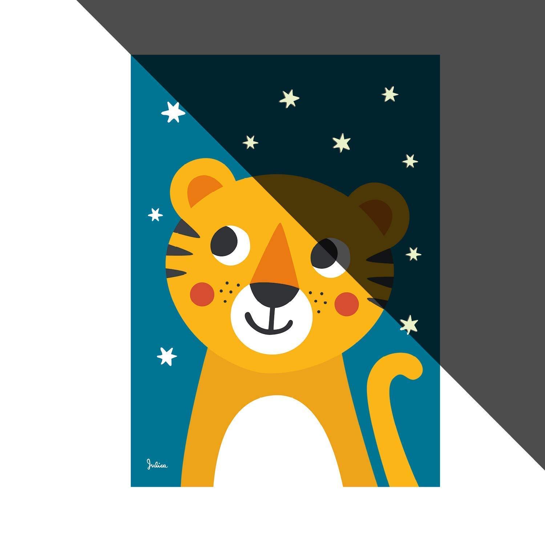 Wand-Bild f/ür Baby-Zimmer Motiv: Tiger Poster JulicaDesign Nachtleuchtende Bilder f/ürs Kinderzimmer 50 x 70 cm