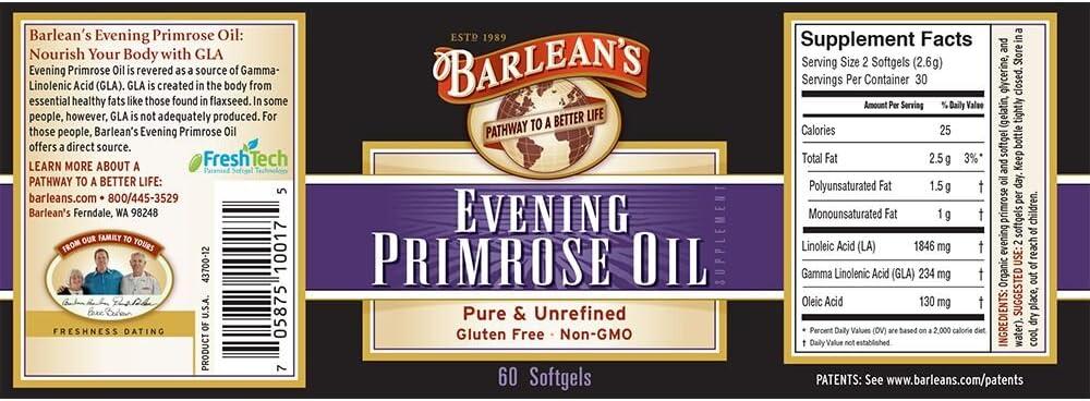 Barlean's Evening Primrose Oil Softgels, 60-Count Bottle: Health & Personal Care
