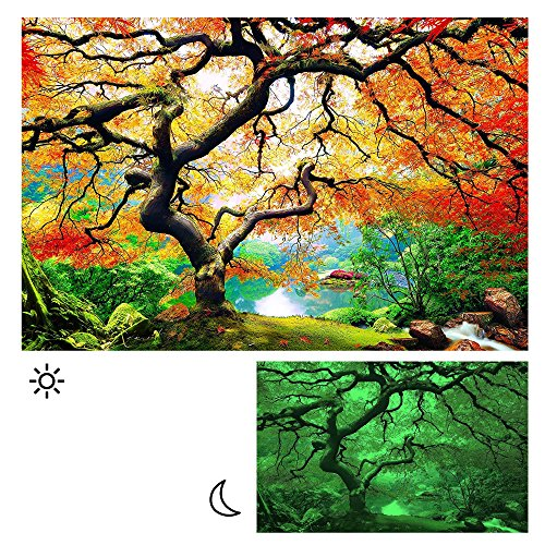 Picture Painting Of Maple Forest Lighted Canvas Wall Art For Bedroom Wall, 31,50 x 47,24 Inch. by Wall Art Home