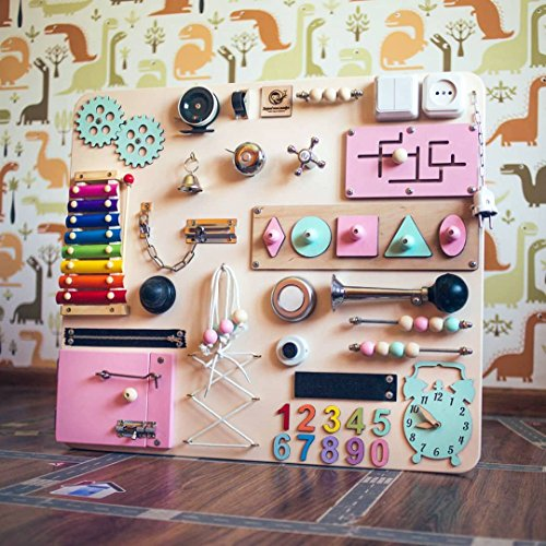 Shafa-20 European quality. Handmade Wooden Busy board, Clever Puzzles, Locks and Latches Activity Board by MebliLine