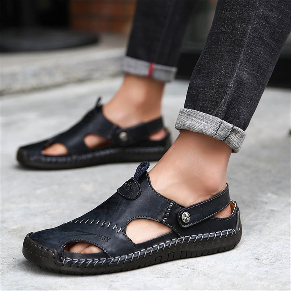 7bf209a3ff9 Mens Hand Stitching Soft Outdoor Closed Toe Leather Sandals  Amazon.co.uk   Shoes   Bags