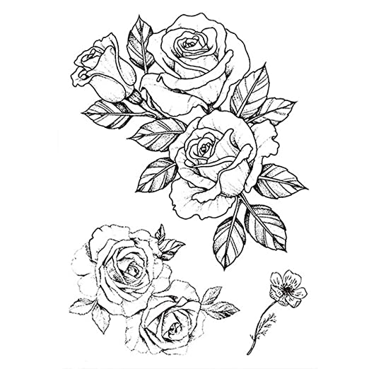 Handaxian 3 Piezas Etiqueta engomada del Tatuaje diseño de Rosa ...