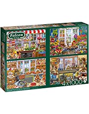 Jumbo Puzzles 11249 Your Favourite Shop – 4 x 1 000 bitar pusselspel, flerfärgad