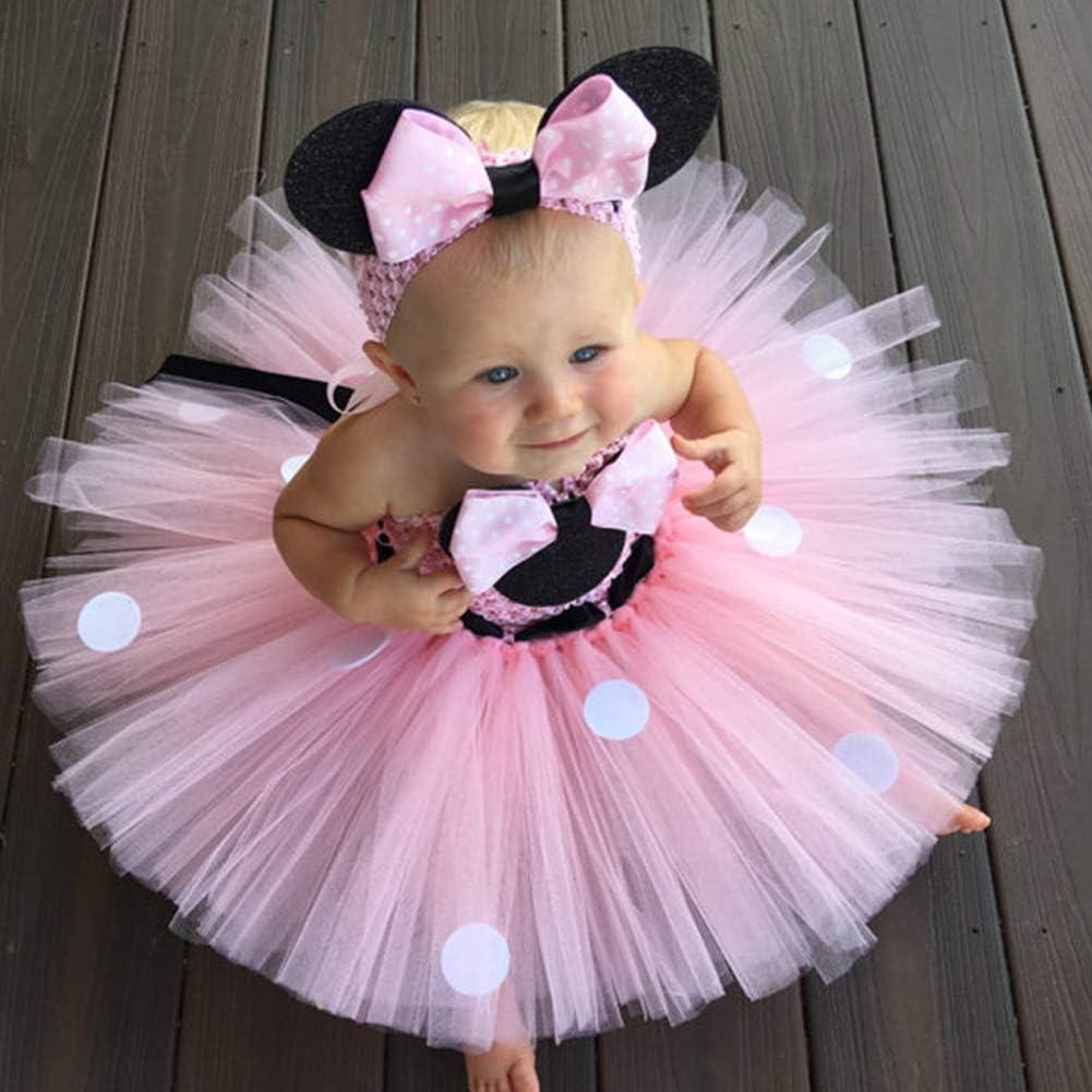 Ragazze Vestito Bambina Minnie Polka Dots Tutu Principessa Carnevale Compleanno Costume Abiti per Festa Cerimonia Comunione Nuziale Fiore nozze Gonna elegante Ballerina Battesimo Prom Partito 2-9 anni