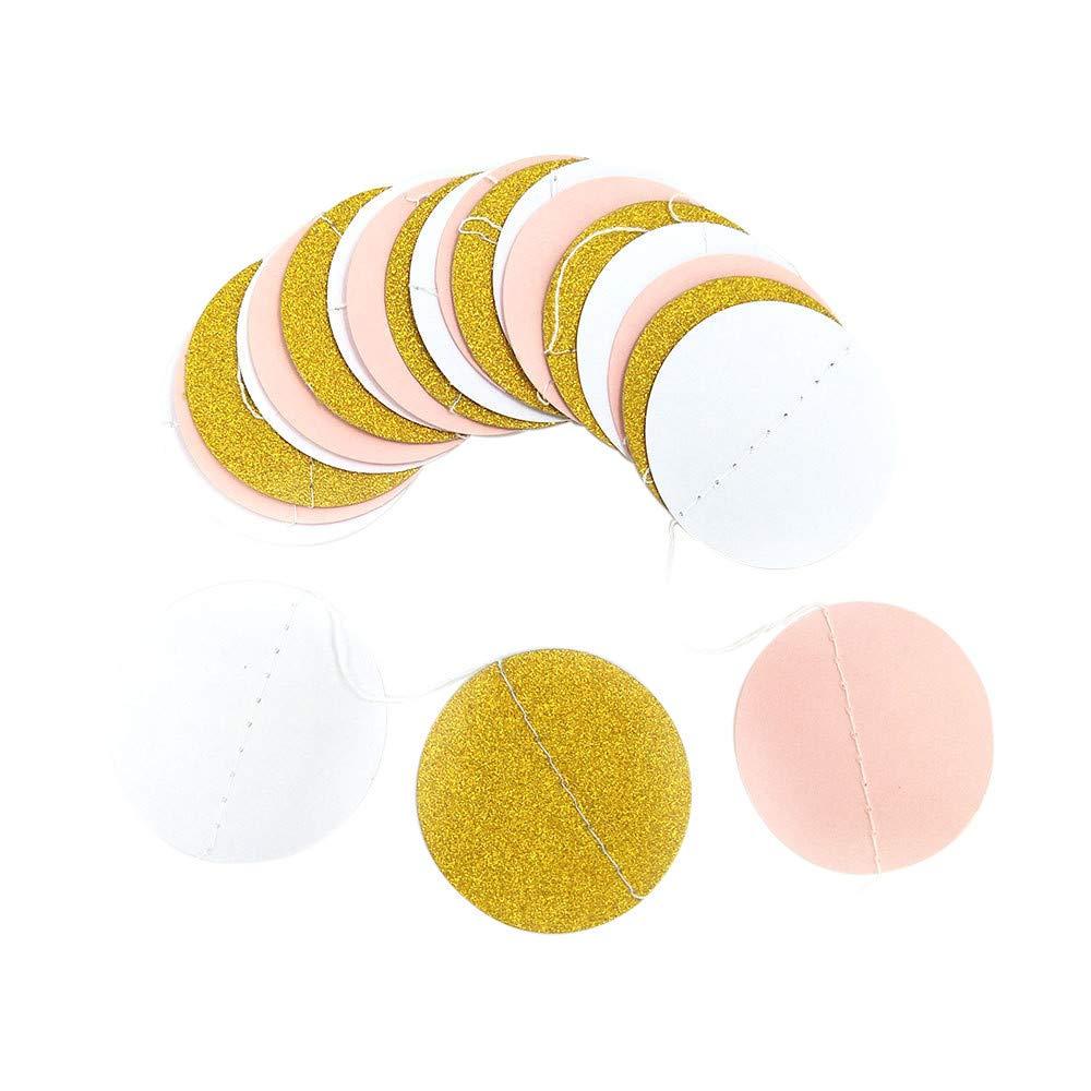 YaidaGlitter Circle Polka Dots Garland Banner Bunting Party Decor Pink White and Gold (A)