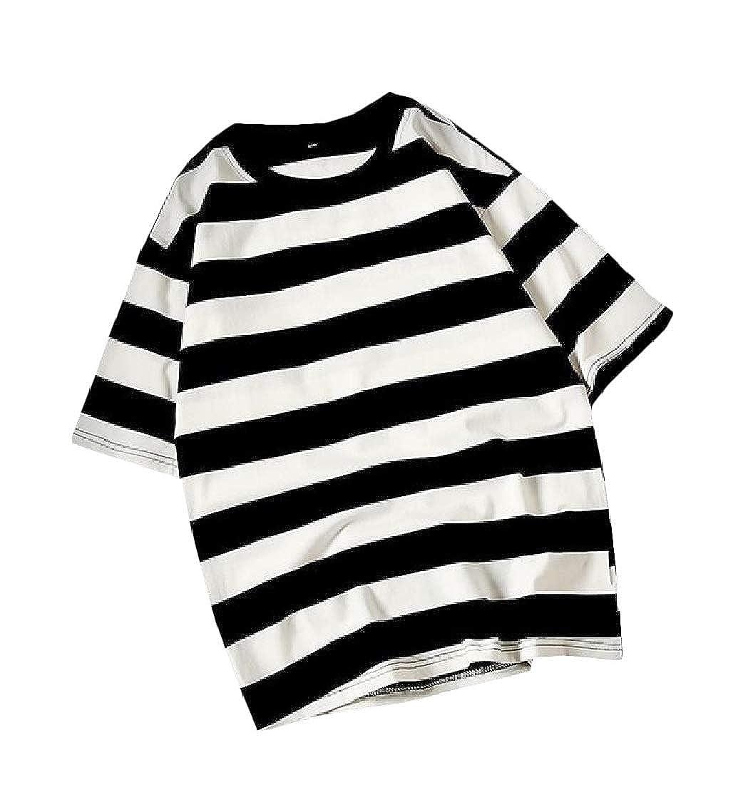 Hajotrawa Mens Tee Fit Cotton Short Sleeve Stripe Summer Top T-Shirts