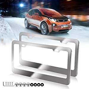 License Plates Frames Car Bottom License Plate Frames 2Pcs 2 Holes Silver Licenses Plate Covers Replacement fit for US Vehicles