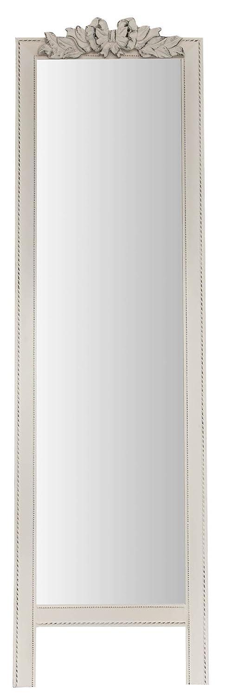 Biscottini Specchio Specchiera da terra in legno L50XPR3XH175 cm finitura bianca anticato. Ideale per la camera da letto