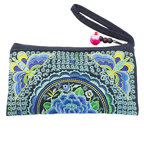 Sabai Jai Ethnic Clutch Purse Handbag for Women Embroidered Boho Flower Wristlet for Girls Handmade Bag (Teal)