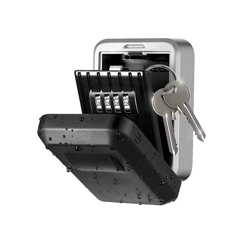 combnine Key Lock Box, Wall Mounted Key Safe Storage Password Key Box with 4-Digit Combination, Outdoor Anti-Theft Key Storage Box for Home Garage School Spare House Keys. by combnine