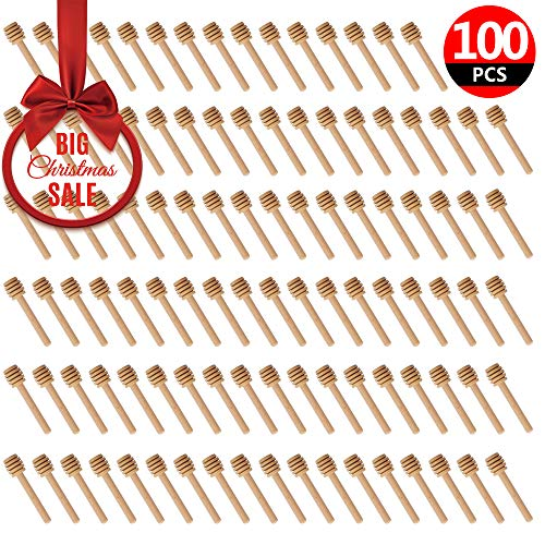 (100 Pack of Mini 3 Inch Wood Honey Dipper Sticks, Individually Wrapped, Server for Honey Jar Dispense Drizzle Honey, Wedding Party Favors)