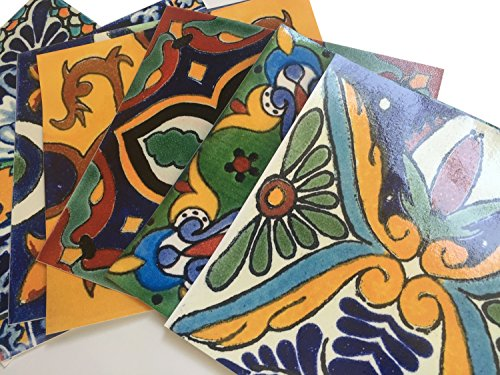 Tile Stickers Mexican Spanish 40pc 4-1/4in Peel and Stick for kitchen and bath Tr002-4Q by SnazzyDecal (Image #5)