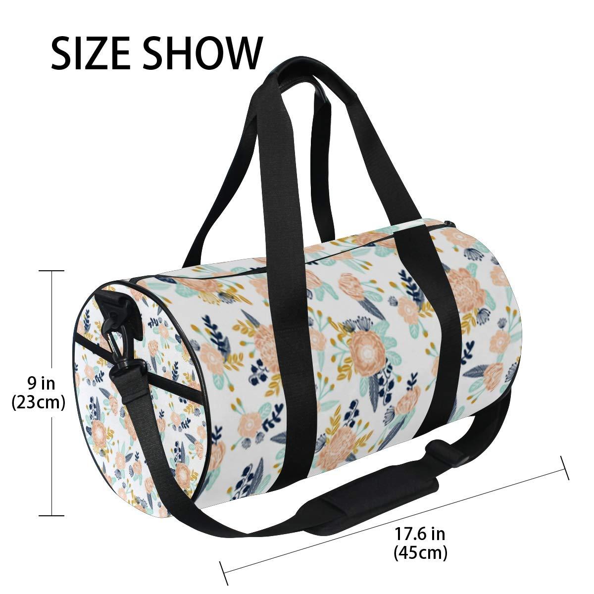 Sports Gym Duffel Barrel Bag Florals Peach Navy Blue Travel Luggage Handbag for Men Women