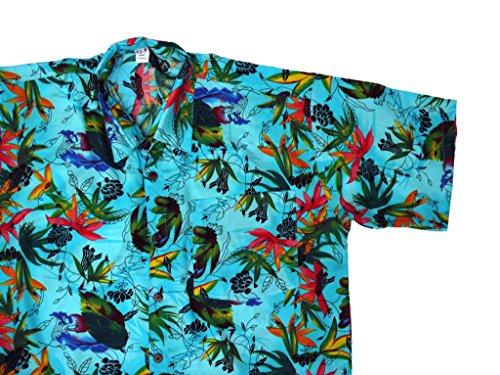 Hawaiihemd Hawai Freizeit Hemd Shirt Viskose blau zarte Blumen Blätter