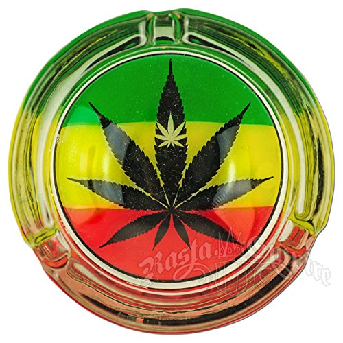 Glow in Dark Mary Jane Double Leaf Ashtray Collectors Edition with Bakebros Sticker