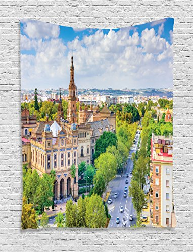 Ambesonne Wanderlust Decor Collection, Seville Spain Cityscape Towards Plaza De Espana Scenery Monument Road Daytime Image, Bedroom Living Room Dorm Wall Hanging Tapestry, Green Ivory by Ambesonne