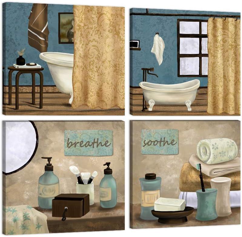 AMEMNY 4 Panels Bathroom Canvas Wall Art Bathroom Pictures Wall Decor Teal Blue Still Life Scenes Canvas Wall Art Bathroom Canvas Poster Artwork for Bathroom Restroom Decor Wood Framed Ready to Hang
