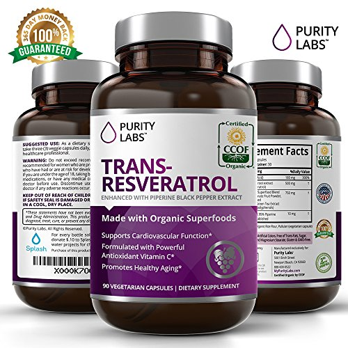 PurityLabs Organic Resveratrol Anti-Aging Superfood - 1,400mg, 90 Veggie Capsules with Trans-Resveratrol, Green Tea, Pomegranate, Grape Seed Extract, and the Antioxidant Vitamin C
