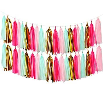 Lewote Tissue Paper Tassel Garland 20pcs Tassels Per Package 12 Inch Long Tassels Gold Pink Green 2pack