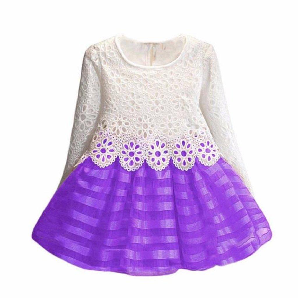 Sannysis Kind-Mädchen Langarm-Prinzessin Dress-Höhle-Blumen-Kleid  amonfineshop 4e5d3561e3