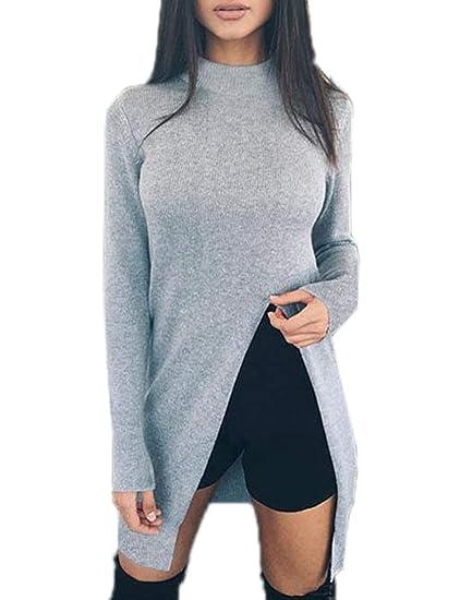 ... Invierno Mujeres Largo Suéter con Hendidura Moda Manga Larga Jerséis  Pulóver Blusa Túnicas Casual Sweater Prendas de Punto Jerseys Tops  Amazon. es  Ropa ... 8603f2abeb7a