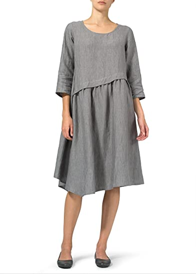 5083c88284 Vivid Linen Line Asymmetrical Hem Dress at Amazon Women s Clothing store