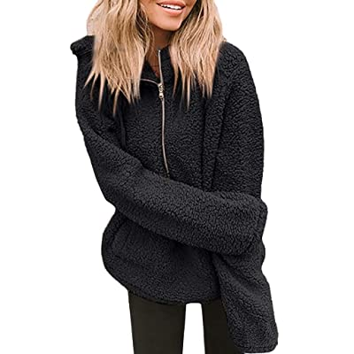 Sttech1 Coats for Women, Faux Plush Zip Up Long Sleeve Winter Tops Jacket Outerwear with Pocket: Clothing