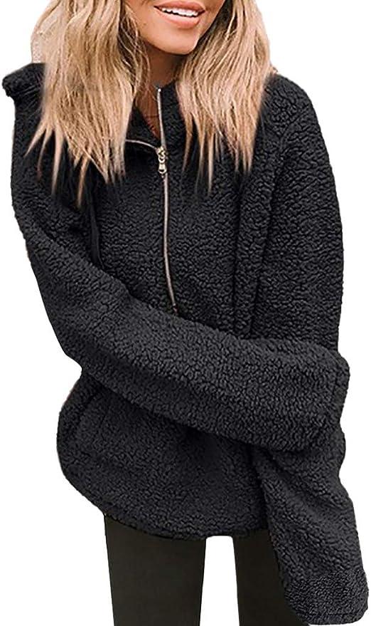 Generic Womens Long Sleeve Autumn Winter Fleece Hoodie Sweatshirt Overcoat