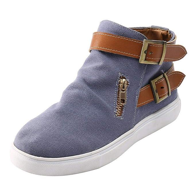 ❤ Zapatos Vintage para Mujer, Zapatos de Lona con Punta Redonda y Plana de Invierno para Mujeres Suelas cómodas con Cremallera y Zapatillas Individuales ...