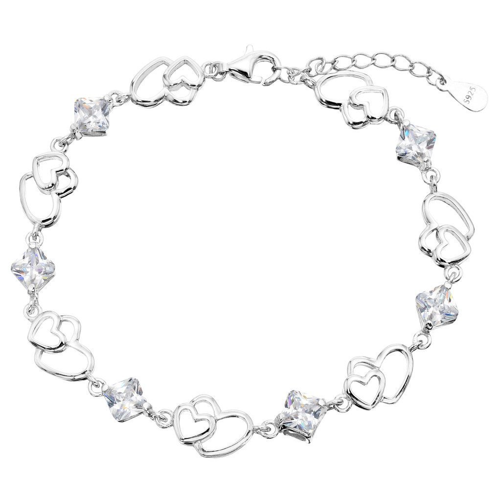 EleQueen 925 Sterling Silver CZ Double Love Open Heart Tennis Bracelet Clear, 6.9''+1.2'' Extender