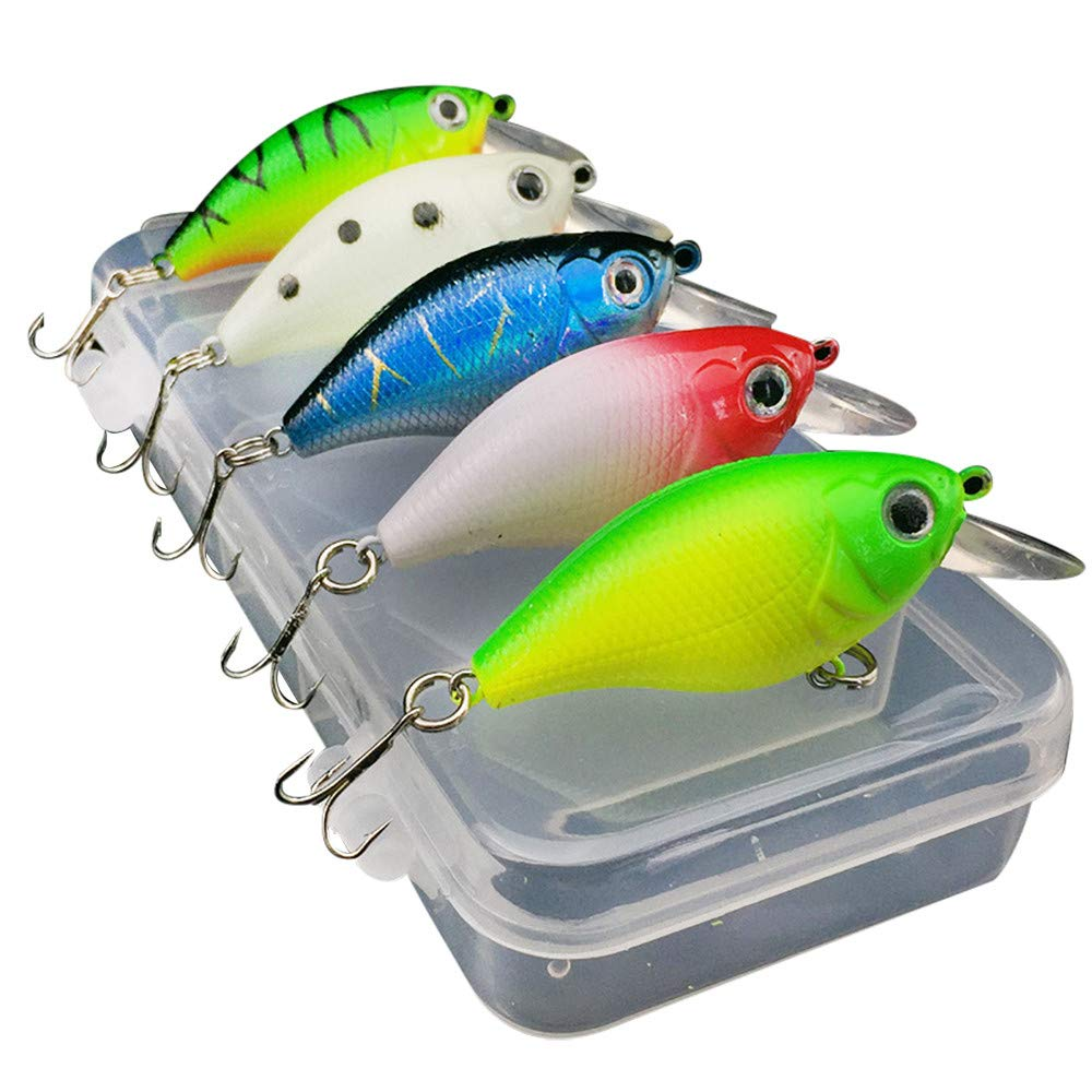 Lots 5 PCS Fishing Lures Kinds Of Minnow Fish Bass Tackle Hooks Baits Crankbaits