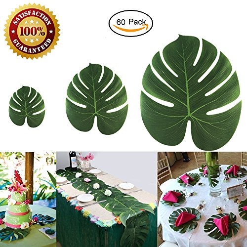60Pcs Tropical Palm Leaves Plant Imitation Leaf Hawaiian Luau Party Jungle Beach Theme BBQ Birthday Party Table Decorations (12 Small +36 Middle+ 12 - Tiki Jungle