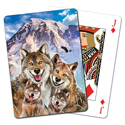Tree-Free Greetings Deck of Playing Cards, 2.5 x 0.8 x 3.5 Inches, Wolf Family  (CD15916)