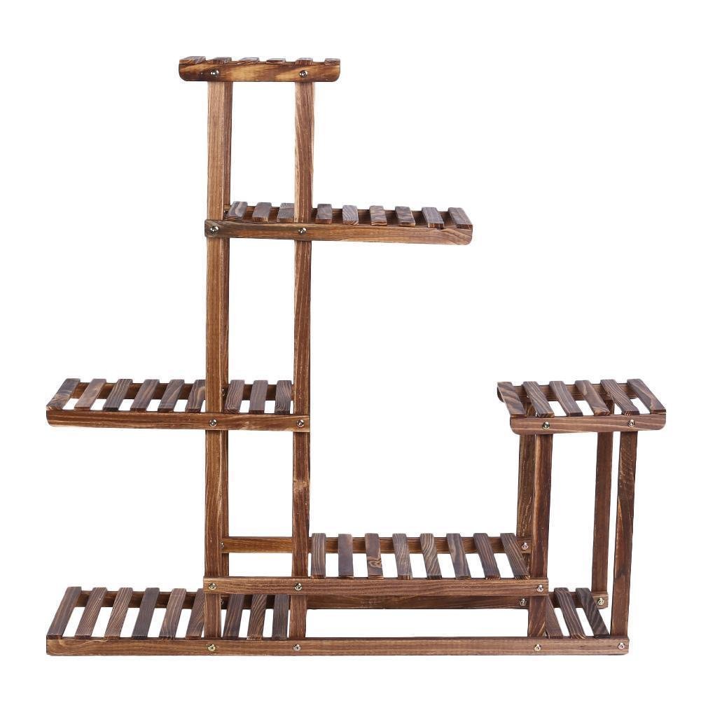 5 Tier Fir Wood Conner Flower Pot Rack Step Style Plant Display Stand Shelf Outdoor Display Patio