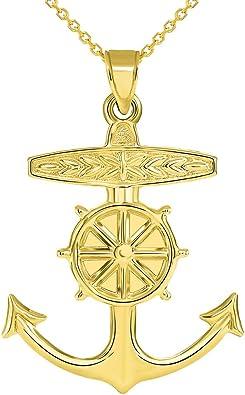 14k Yellow Gold 3D Ship Anchor and Wheel Nautical Pendant Necklace