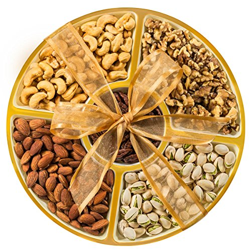 NUT-O-BRO Gourmet Nuts Holiday Food Gift Basket - Large 12 Inch Gold Decorated Tray of 2 LB Roasted Nuts Sealed For Freshness