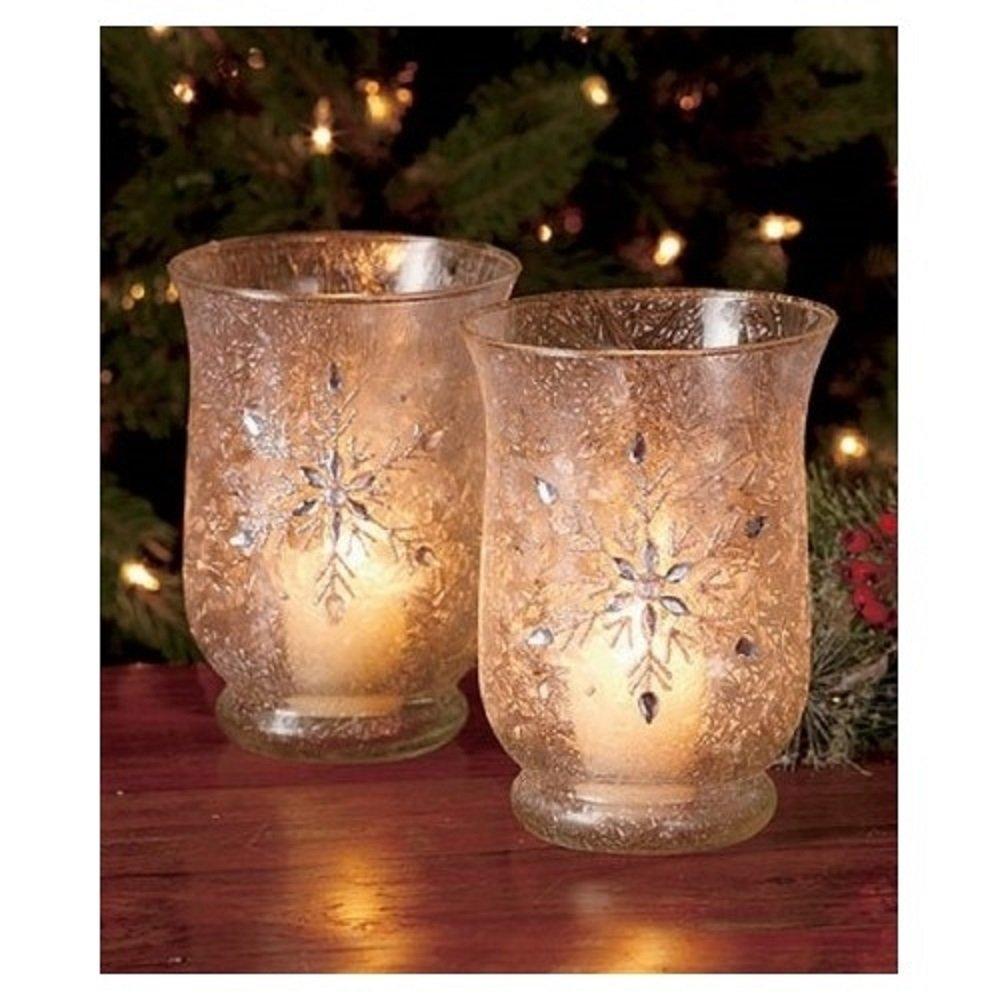 Elegant Christmas Jeweled Snowflake Votive Medium Candle Holders Set of 2