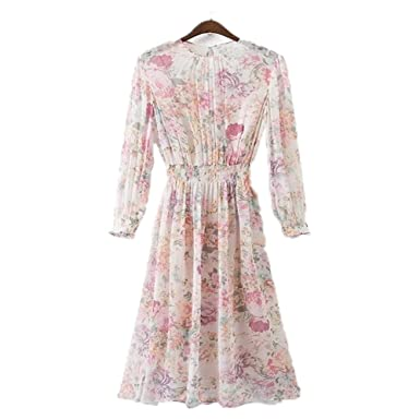 SAFJK dress 2018 Girl Dress Women Summer Print Beach Dress Vintage Floral Dresses Vestidos Beige S