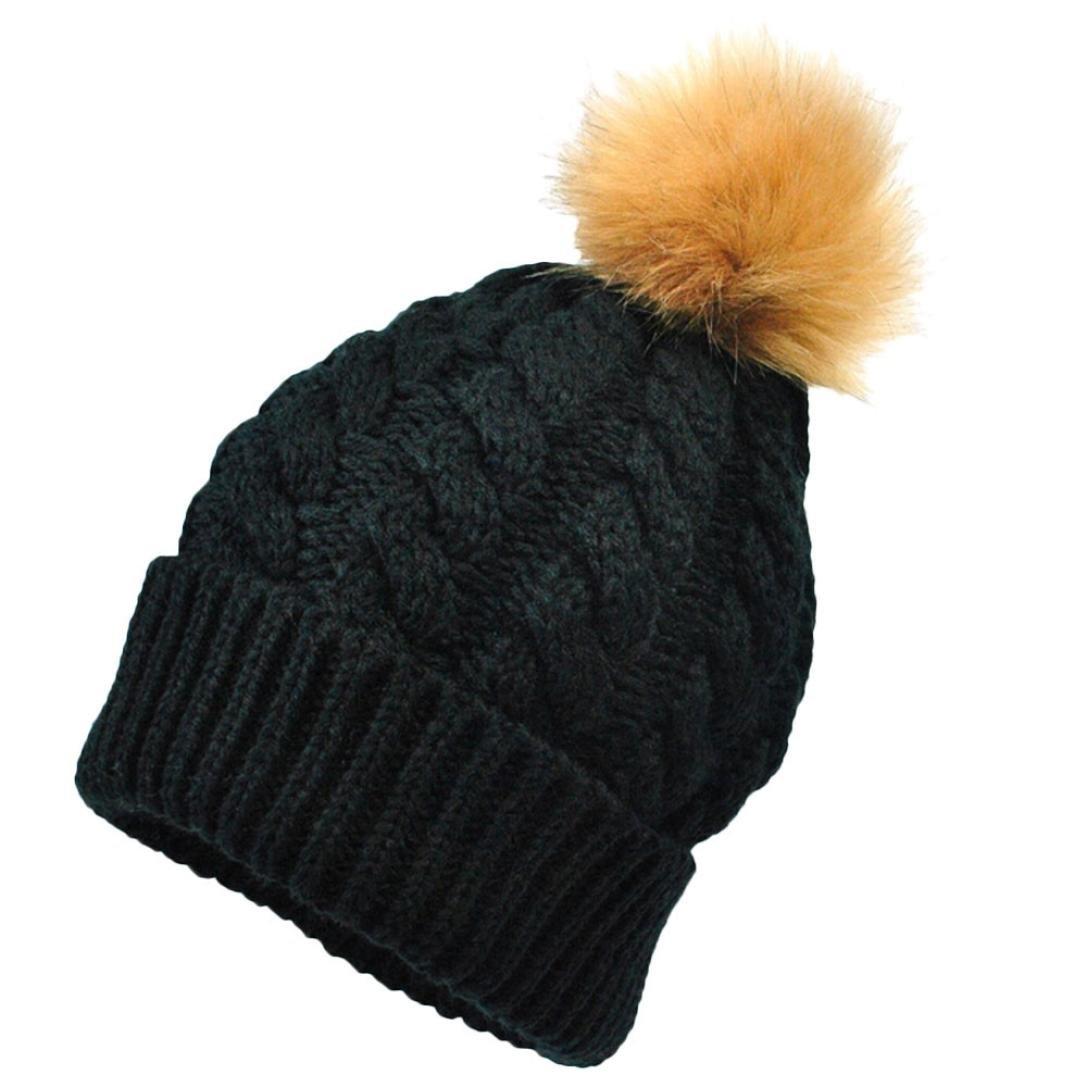 ママと赤ちゃんベビー帽子、yang-yi 2017キュートKeep Warm帽子冬ニットキャップ帽子 ブルー B077GW23LL  ブラック  B